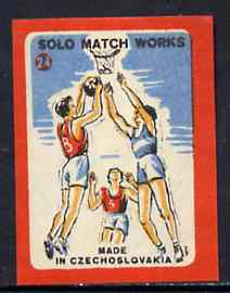 Match Box Labels - Basketball (No.24 from 'Sport' set of 24) very fine unused condition (Czechoslovakian Solo Match Co Series)
