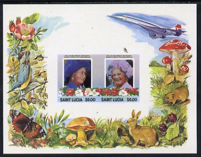 St Lucia 1985 Life & Times of HM Queen Mother m/sheet containing 2 x $6 values (depicts Concorde, Fungi, Butterflies, Birds & Animals) imperforate with silver (inscriptions) omitted, unmounted mint and only recently discovered