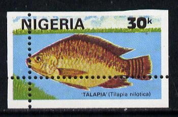 Nigeria 1991 Fishes 30k (Talapia) unmounted mint single with vert & horiz perfs misplaced, divided along margins so stamp is quartered (as SG 614)*