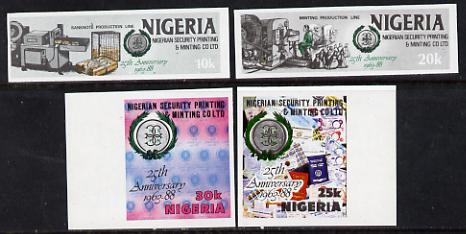Nigeria 1988 Printing & Minting set of 4 imperf singles unmounted mint (SG 568-71v ar)