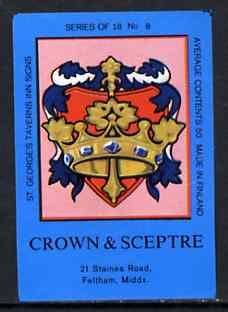 Match Box Labels - Crown & Sceptre (No.8 from a series of 18 Pub signs) dark brown background, very fine unused condition (St George's Taverns)