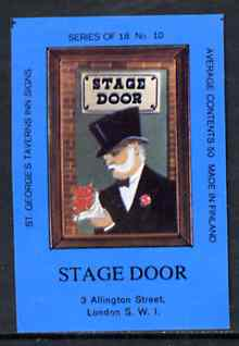 Match Box Labels - Stage Door (No.10 from a series of 18 Pub signs) dark brown background, very fine unused condition (St George's Taverns)