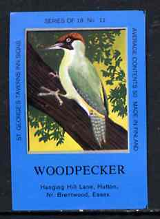 Match Box Labels - Woodpecker (No.11 from a series of 18 Pub signs) dark brown background, very fine unused condition (St George's Taverns)