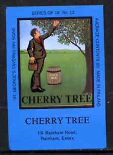 Match Box Labels - Cherry Tree (No.12 from a series of 18 Pub signs) dark brown background, very fine unused condition (St George's Taverns)