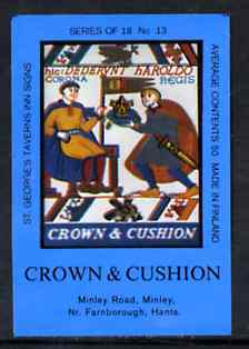 Match Box Labels - Crown & Cushion (No.13 from a series of 18 Pub signs) dark brown background, very fine unused condition (St George's Taverns)