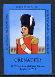 Match Box Labels - Grenadier (No.14 from a series of 18 Pub signs) dark brown background, very fine unused condition (St George's Taverns)