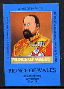 Match Box Labels - Prince Of Wales (No.16 from a series of 18 Pub signs) dark brown background, very fine unused condition (St George's Taverns)
