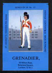 Match Box Labels - Grenadier (No.17 from a series of 18 Pub signs) dark brown background, very fine unused condition (St George's Taverns)