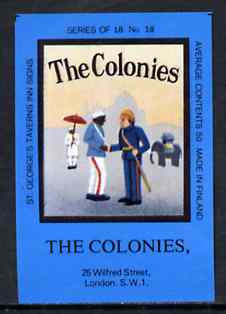 Match Box Labels - The Colonies (No.18 from a series of 18 Pub signs) dark brown background, very fine unused condition (St George's Taverns)