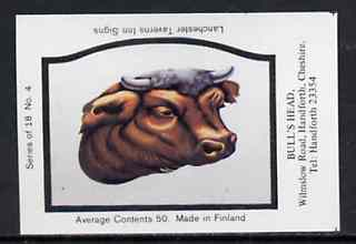 Match Box Labels - Bull's Head (No.4 from a series of 18 Pub signs) very fine unused condition (Lanchester Taverns)