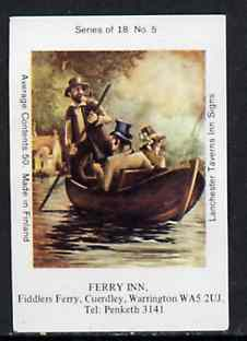 Match Box Labels - Ferry Inn (No.5 from a series of 18 Pub signs) very fine unused condition (Lanchester Taverns)