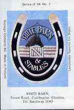Match Box Labels - White Barn (No.7 from a series of 18 Pub signs) very fine unused condition (Lanchester Taverns)