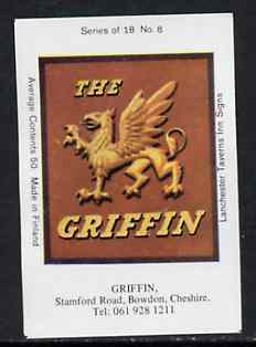 Match Box Labels - Griffin (No.8 from a series of 18 Pub signs) very fine unused condition (Lanchester Taverns)