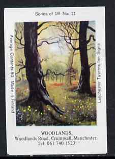Match Box Labels - Woodlands (No.11 from a series of 18 Pub signs) very fine unused condition (Lanchester Taverns)