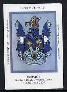 Match Box Labels - Urmston (No.12 from a series of 18 Pub signs) very fine unused condition (Lanchester Taverns)
