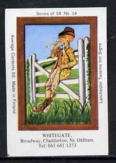 Match Box Labels - White Gate (No.14 from a series of 18 Pub signs) very fine unused condition (Lanchester Taverns)