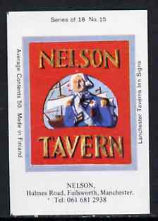 Match Box Labels - Nelson (No.15 from a series of 18 Pub signs) very fine unused condition (Lanchester Taverns)
