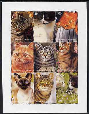 Kyrgyzstan 1998 Domestic Cats perf sheetlet containing complete set of 9 values unmounted mint