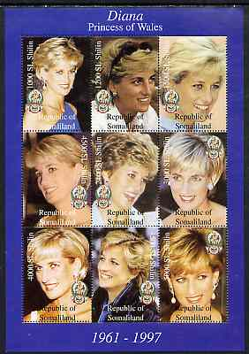 Somaliland 1998 Princess Diana perf sheetlet containing complete set of 9 values unmounted mint