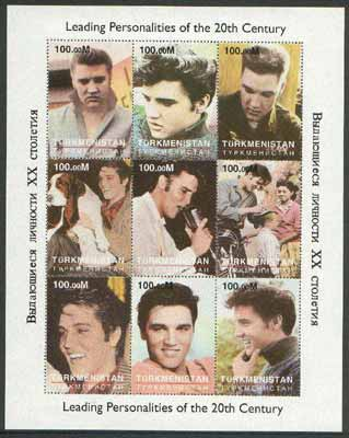 Turkmenistan 1998 Leading Personalities of the 20th Century (Elvis Presley) perf sheetlet containing complete set of 9 values unmounted mint