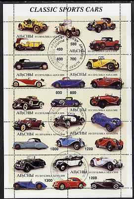 Abkhazia 1997 Classic Sports Cars perf sheetlet containing complete set of 10 values cto used, stamps on cars, stamps on  mg , stamps on