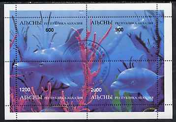 Abkhazia 1997 Dolphins perf sheetlet containing complete set of 4 values cto used, stamps on dolphins    whales    animals  marine-life