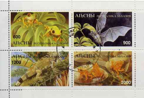 Abkhazia 1997 Bats & Frogs perf sheetlet containing complete set of 4 values cto used, stamps on bats    frogs    animals   amphibians    mammals