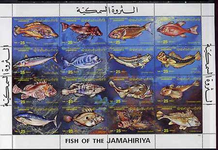 Libya 1983 Fishes set of 16 unmounted mint SG 1325-40