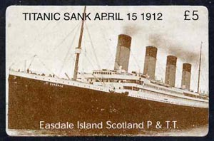 Telephone Card - Easdale Titanic #10 \A35 (collector's) card (brown & white from a limited edition of 1200)