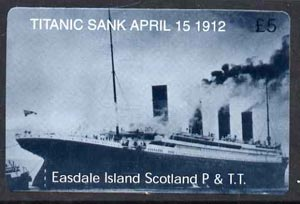 Telephone Card - Easdale Titanic #14 \A35 (collector's) card (blue & white from a limited edition of 1200)