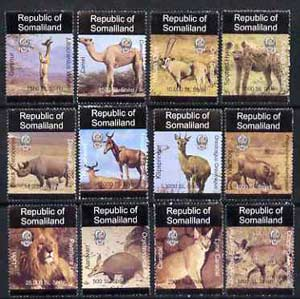Somaliland 1997 Indigenous Animals unmounted mint set of 12 values 500 SL to 25,000 SL
