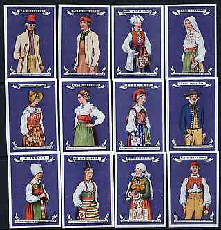 Match Box Labels - complete set of 12 Swedish Costumes (blue background) very fine unused condition (Swedish)