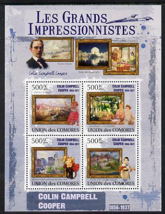 Comoro Islands 2009 The Impressionists - Colin Campbell Cooper perf sheetlet containing 4 values unmounted mint