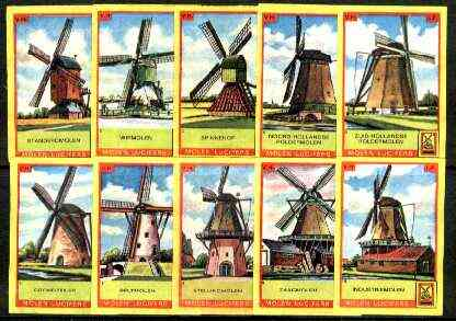 Match Box Labels - Windmills series #01 (nos 1-10 issued in 1964) very fine unused condition (Molem Lucifers)