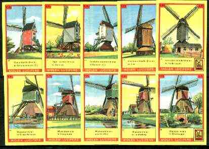 Match Box Labels - Windmills series #02 (nos 11-20) very fine unused condition (Molem Lucifers)