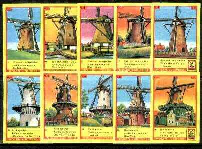 Match Box Labels - Windmills series #03 (nos 21-30) very fine unused condition (Molem Lucifers)