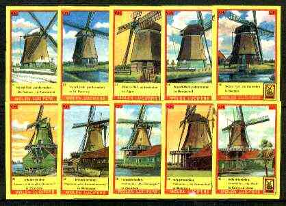 Match Box Labels - Windmills series #04 (nos 31-40) very fine unused condition (Molem Lucifers)