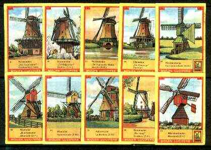 Match Box Labels - Windmills series #07 (nos 61-70) very fine unused condition (Molem Lucifers)