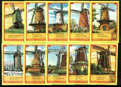 Match Box Labels - Windmills series #08 (nos 71-80) very fine unused condition (Molem Lucifers)