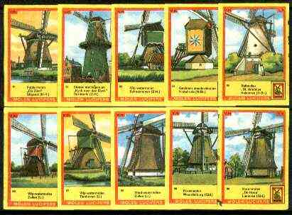 Match Box Labels - Windmills series #09 (nos 81-90) very fine unused condition (Molem Lucifers)