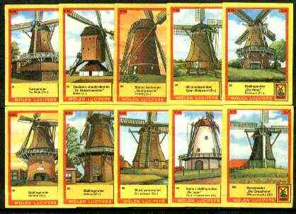 Match Box Labels - Windmills series #10 (nos 91-100) very fine unused condition (Molem Lucifers)