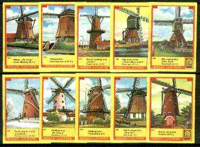 Match Box Labels - Windmills series #11 (nos 101-110) very fine unused condition (Molem Lucifers)