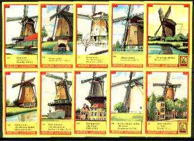 Match Box Labels - Windmills series #13 (nos 121-130) very fine unused condition (Molem Lucifers)