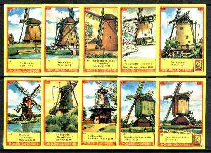 Match Box Labels - Windmills series #15 (nos 141-150) very fine unused condition (Molem Lucifers)