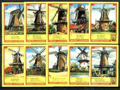 Match Box Labels - Windmills series #16 (nos 151-160) very fine unused condition (Molem Lucifers)