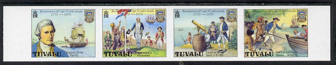 Tuvalu 1979 Capt Cook Death Anniversary imperf strip of 4 (without gum and possibly a proof) listed by SG as 123ab but unpriced