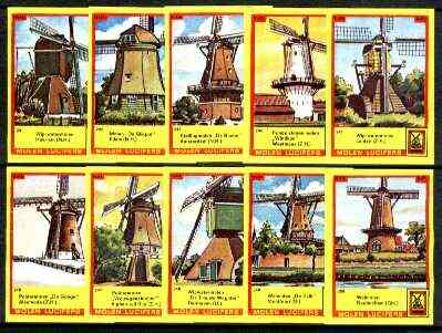 Match Box Labels - Windmills series #25 (nos 241-250) very fine unused condition (Molem Lucifers)