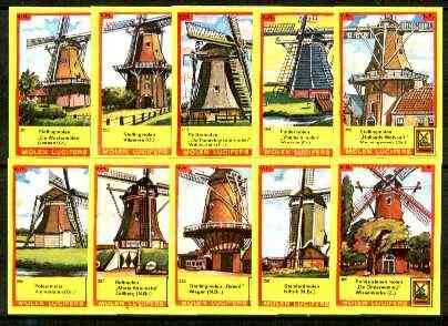 Match Box Labels - Windmills series #26 (nos 251-260) very fine unused condition (Molem Lucifers)