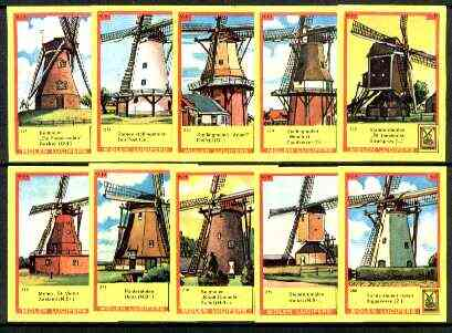Match Box Labels - Windmills series #28 (nos 271-280) very fine unused condition (Molem Lucifers)