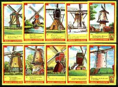 Match Box Labels - Windmills series #29 (nos 281-290) very fine unused condition (Molem Lucifers)